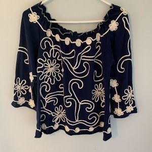 Lauren Michelle small navy shirt with pearls EUC